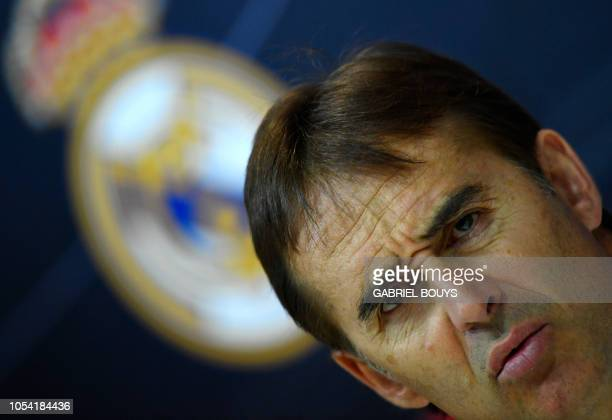 Real Madrid's Spanish coach Julen Lopetegui holds a press conference at the Ciudad Real Madrid training facilities in Madrid's suburb of Valdebebas...