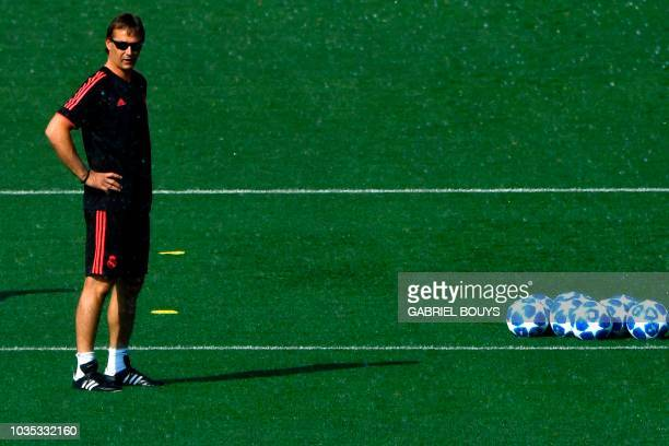 Real Madrid's Spanish coach Julen Lopetegui takes part in a training session at the Valdebebas training ground in Madrid on September 18, 2018 on the...