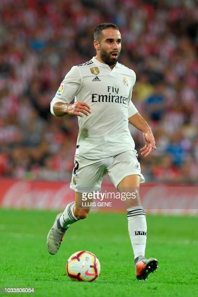 Real Madrid's Spanish defender Dani Carvajal controls the ball during the Spanish league football match between Athletic Club Bilbao and Real Madrid...