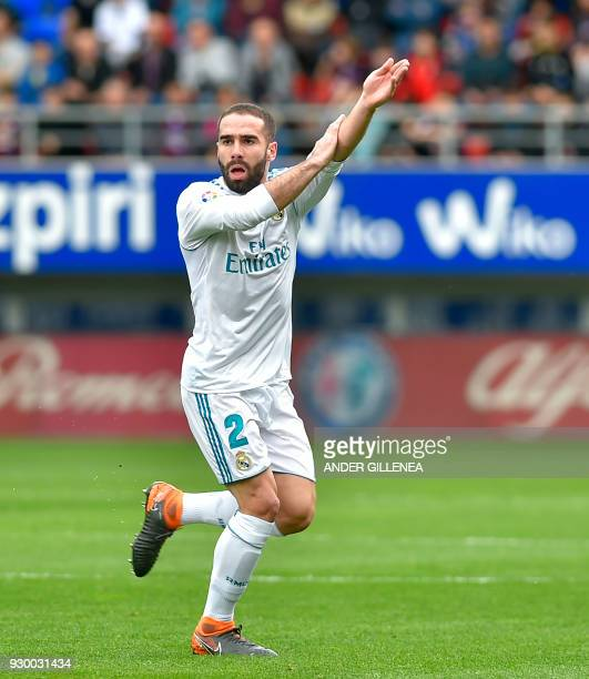Real Madrid's Spanish defender Daniel Carvajal gestures during the Spanish league football match between Eibar and Real Madrid at the Ipurua stadium...