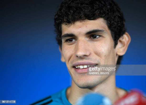 Real Madrid's Spanish defender Jesus Vallejo addresses journalists after a training session during Real Madrid's Media Open Day ahead of their UEFA...
