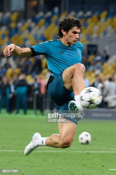Real Madrid's Spanish defender Jesus Vallejo kicks the ball during a team's training session at the Olympic Stadium in Kiev Ukraine on May 25 on the...