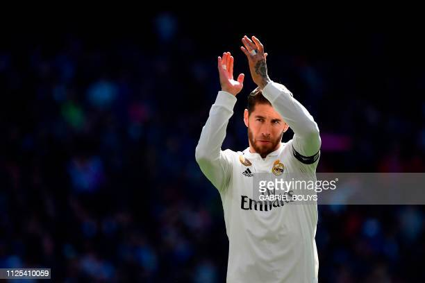 Real Madrid's Spanish defender Sergio Ramos acknowledges fans before the Spanish League football match between Real Madrid and Girona at the Santiago...