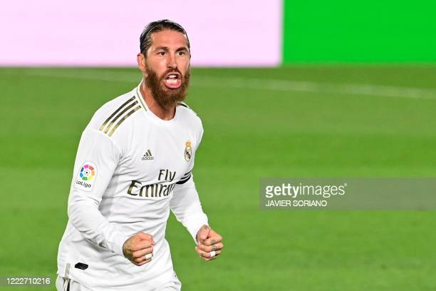 Real Madrid's Spanish defender Sergio Ramos celebrates after scoring during the Spanish league football match real Real Madrid CF against RCD...