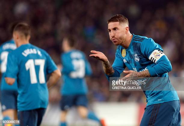 Real Madrid's Spanish defender Sergio Ramos celebrates scoring a goal during the Spanish league football match Real Betis vs Real Madrid at the...