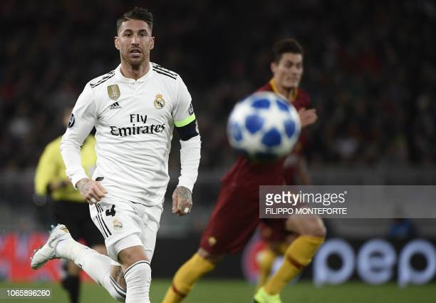 Real Madrid's Spanish defender Sergio Ramos eyes the ball during the UEFA Champions League group G football match AS Rome vs Real Madrid on November...