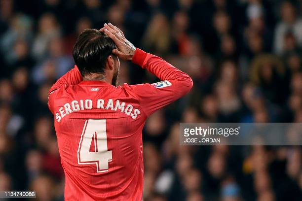 Real Madrid's Spanish defender Sergio Ramos gestures during the Spanish league football match between Valencia CF and Real Madrid CF at the Mestalla...