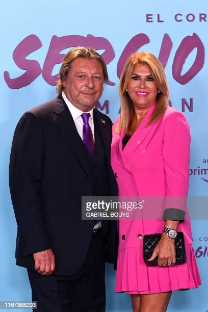 Real Madrid's Spanish defender Sergio Ramos' parents Jose Maria Ramos and Paqui Garcia pose during the premiere of their son's autobiographic...