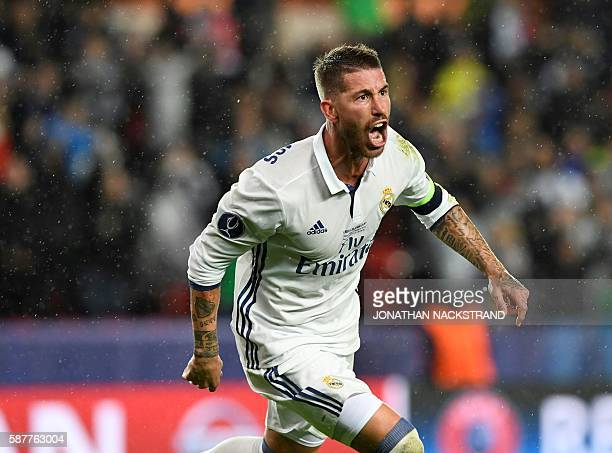 Real Madrid's Spanish defender Sergio Ramos reacts after scoring during the UEFA Super Cup final football match between Real Madrid CF and Sevilla FC...