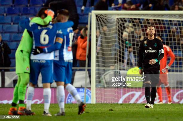 Real Madrid's Spanish defender Sergio Ramos reacts to Espanyol's goal during the Spanish league football match between RCD Espanyol and Real Madrid...