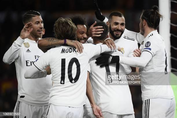 Real Madrid's Spanish defender Sergio Ramos, Real Madrid's Croatian midfielder Luka Modric, Real Madrid's Brazilian defender Marcelo, Real Madrid's...