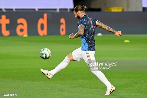 Real Madrid's Spanish defender Sergio Ramos warms up before the Spanish league football match real Real Madrid CF against RCD Mallorca at at the...