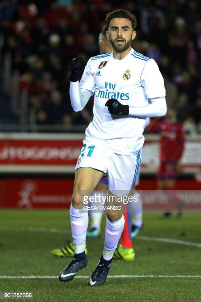 Real Madrid's Spanish forward Borja Mayoral celebrates a goal during the Spanish Copa del Rey round of 16 first leg football match CD Numancia vs...
