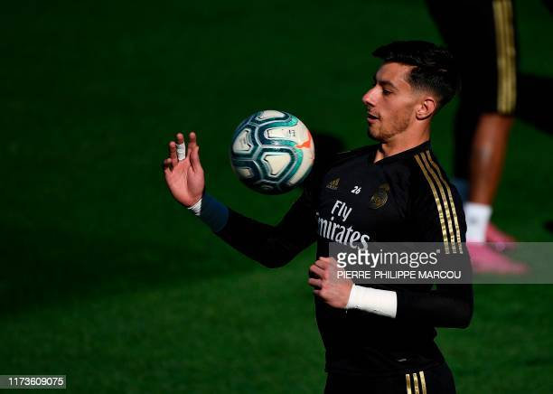 Real Madrid's Spanish goalkeeper Diego Altube attends a training session at Valdebebas Sport City in Madrid on October 4 2019 on the eve of a Liga...