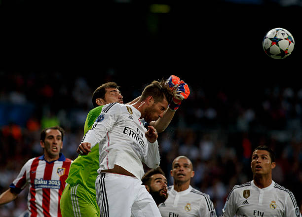 Real Madrid s Spanish goalkeeper Iker Casillas and Spanish defender Sergio  Ramos during the Champions League 2014 aad12f12dce