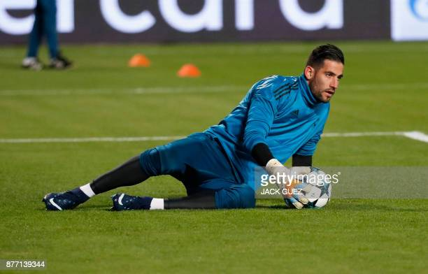 Real Madrid's Spanish goalkeeper Kiko Casilla warmsup ahead of the UEFA Champions League Group H match between Apoel FC and Real Madrid on November...