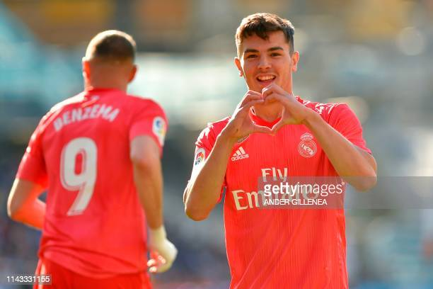 Real Madrid's Spanish midfielder Brahim Diaz celebrates after scoring during the Spanish League football match between Real Sociedad and Real Madrid...