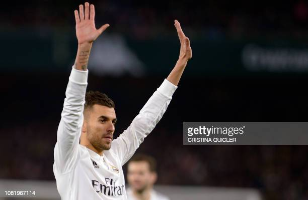 Real Madrid's Spanish midfielder Daniel Ceballos celebrates after scoring a goal during the Spanish League football match between Real Betis and Real...