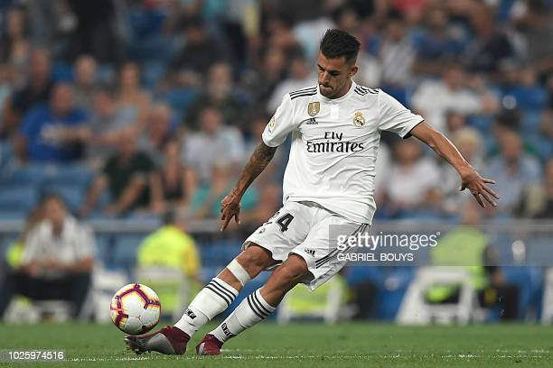 Real Madrid's Spanish midfielder Daniel Ceballos controls the ball during the Spanish league football match between Real Madrid CF and Club Deportivo...