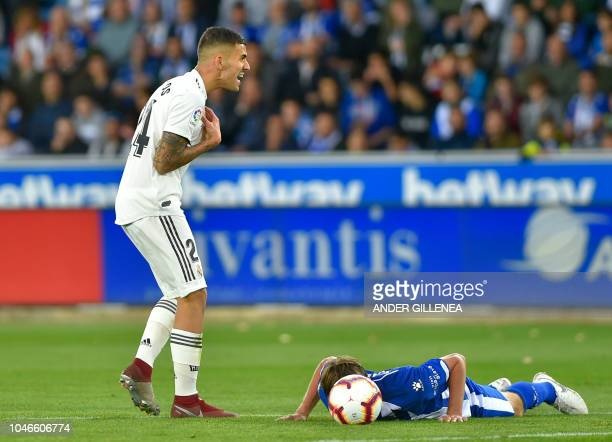 Real Madrid's Spanish midfielder Daniel Ceballos gestures during the Spanish league football match between Deportivo Alaves and Real Madrid CF at the...
