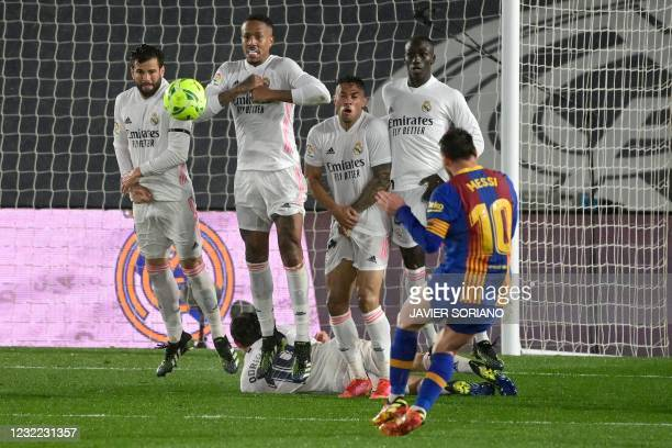 Real Madrid's Spanish midfielder Isco, Real Madrid's Brazilian defender Eder Militao, Real Madrid's Dominicans forward Mariano Diaz and Real Madrid's...