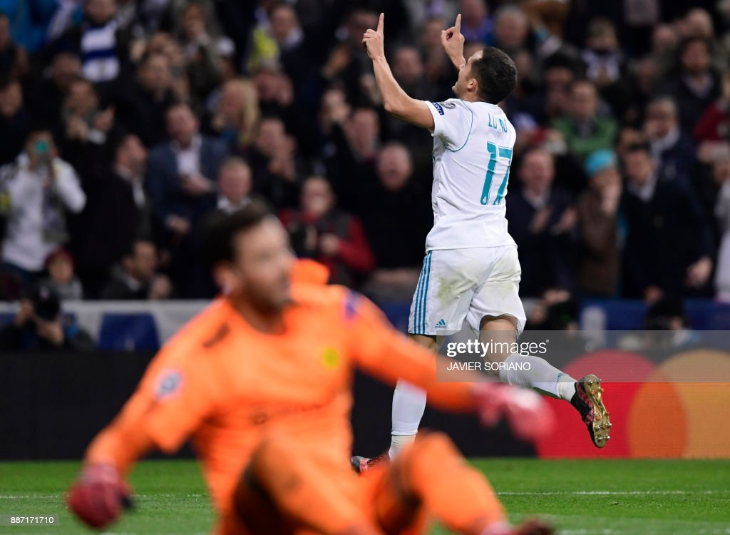 Real Madrid's Spanish midfielder Lucas Vazquez celebrates a goal during the UEFA Champions League group H football match Real Madrid CF vs Borussia Dortmund at the Santiago Bernabeu stadium in Madrid on December 6, 2017. /