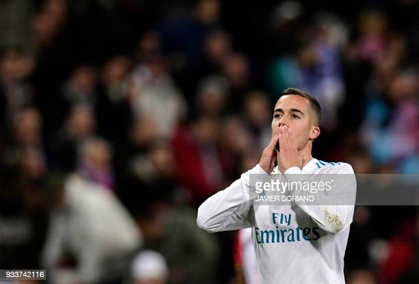 Real Madrid's Spanish midfielder Lucas Vazquez celebrates a goal during the Spanish League football match between Real Madrid CF and Girona FC at the...