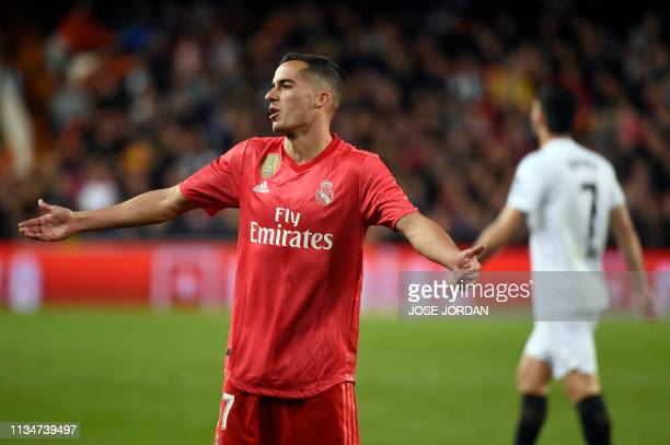 Real Madrid's Spanish midfielder Lucas Vazquez gestures during the Spanish league football match between Valencia CF and Real Madrid CF at the...
