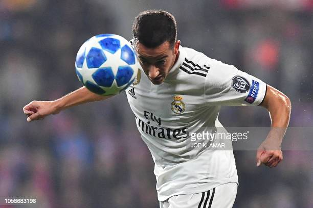 Real Madrid's Spanish midfielder Lucas Vazquez heads the ball during the UEFA Champions League group G football match Viktoria Plzen v Real Madrid in...