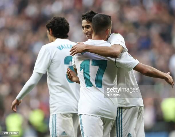 Real Madrid's SpanishMoroccan defender Achraf Hakimi celebrates after scoring his team's fifth goal during the Spanish league football match between...