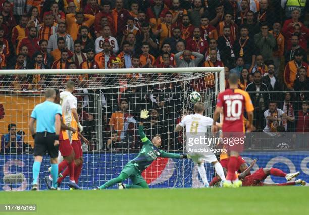 Real Madrid's Toni Kross scores a goal during the UEFA Champions League Group A match between Galatasaray and Real Madrid at Turk Telekom Stadium in...