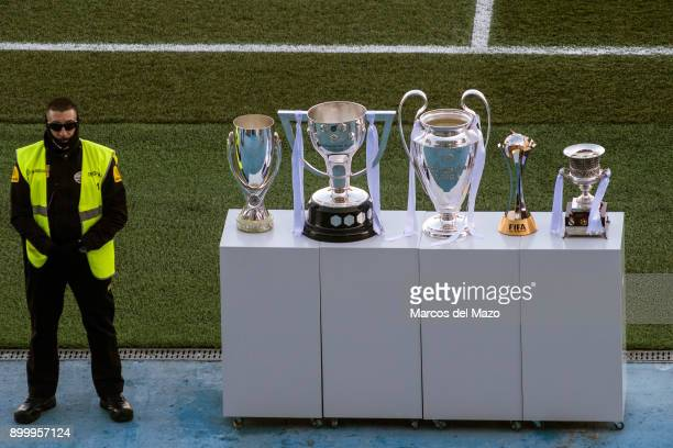 Real Madrid's trophies displayed during a training session for their fans