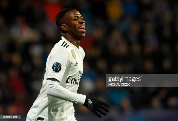 Real Madrid's Vinicius Junior reacts during the UEFA Champions League group G football match Viktoria Plzen v Real Madrid in Plzen Czech Republic on...