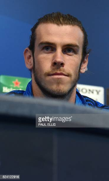 Real Madrid's Welsh footballer Gareth bale is pictured during a press conference in Manchester northwest England on April 25 ahead of their UEFA...