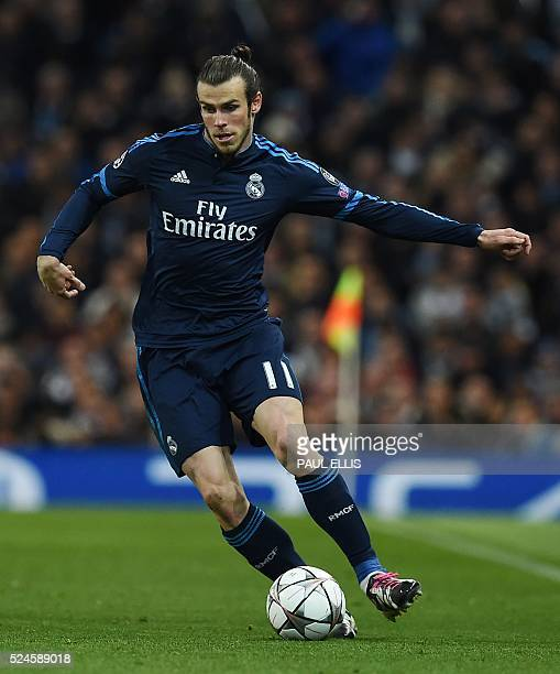 Real Madrid's Welsh forward Gareth Bale controls the ball during the UEFA Champions League semifinal first leg football match between Manchester City...
