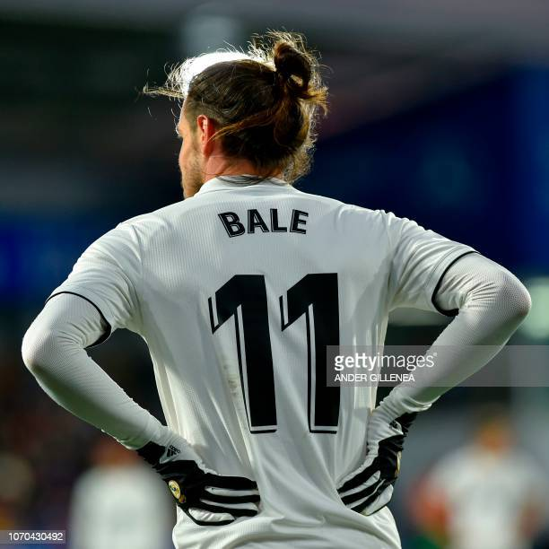 Real Madrid's Welsh forward Gareth Bale gestures during the Spanish league football match between SD Huesca and Real Madrid CF at the El Alcoraz...