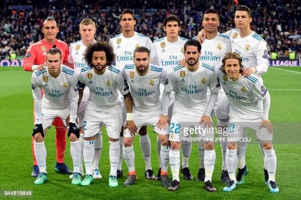 Real Madrid's Welsh forward Gareth Bale Real Madrid's Brazilian defender Marcelo Real Madrid's Spanish defender Dani Carvajal Real Madrid's Spanish...