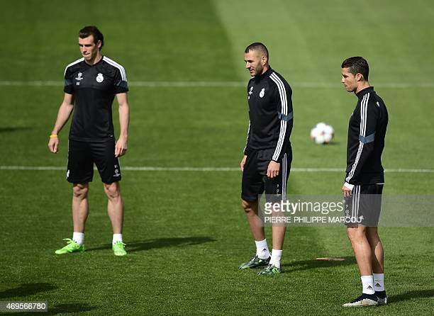 Real Madrid's Welsh forward Gareth Bale Real Madrid's French forward Karim Benzema and Real Madrid's Portuguese forward Cristiano Ronaldo train at...