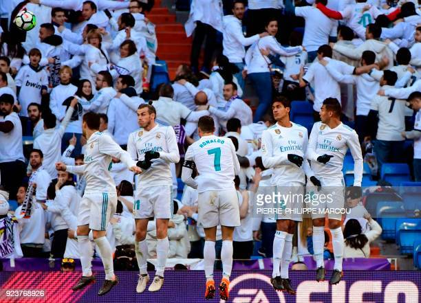 Real Madrid's Welsh forward Gareth Bale Real Madrid's Portuguese forward Cristiano Ronaldo Real Madrid's French defender Raphael Varane and Real...