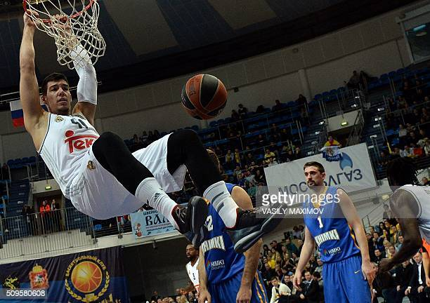 Real Madrid's Willy Hernangomez scores a goal during the Euroleague basketball match between Khimki Moscow Region and Real Madrid on February 11 2016...