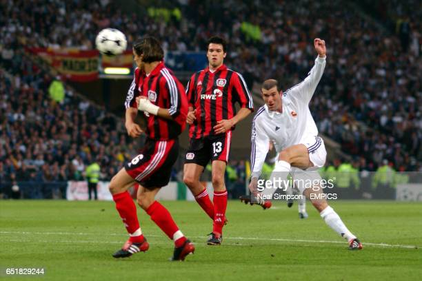 Real Madrid's Zinedine Zidane scores the 2nd goal against Bayer Leverkusen