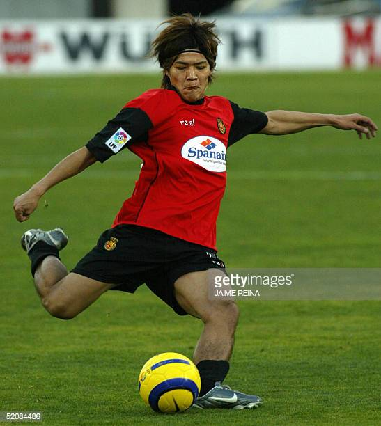 Real Mallorca's Japanese striker Yoshito Okubo prepares to shoot during their Spanish League football match against Getafe at Son Moix Stadium in...