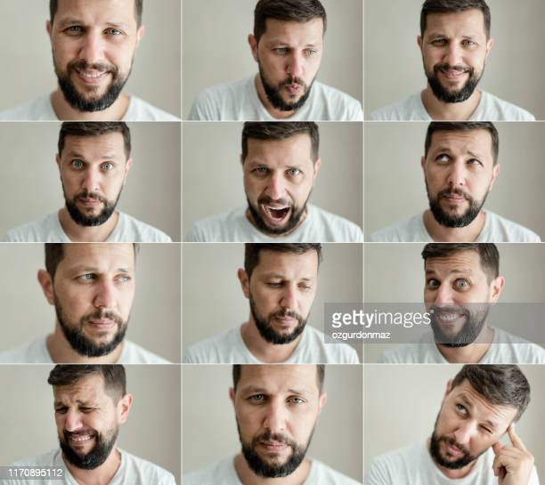 real man making different facial expressions - espressione del viso foto e immagini stock