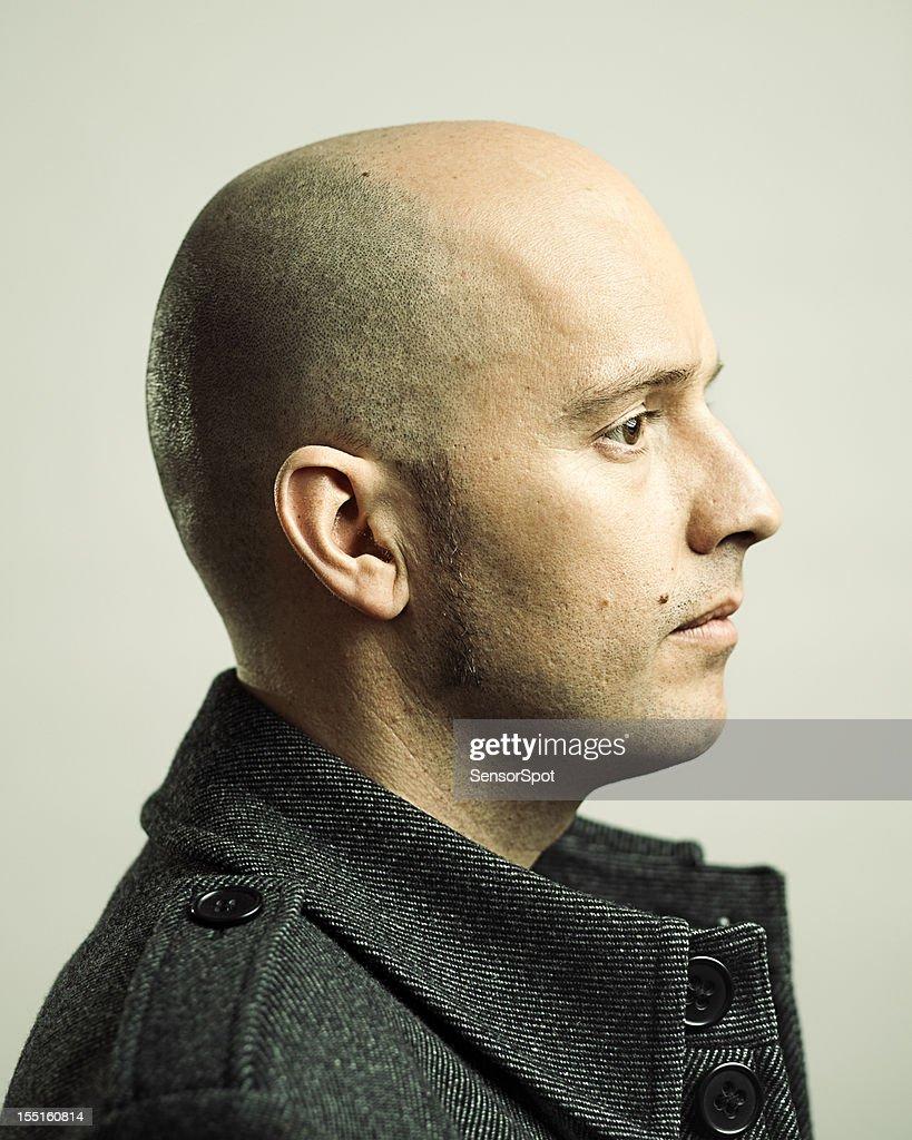Real man profile : Stock Photo