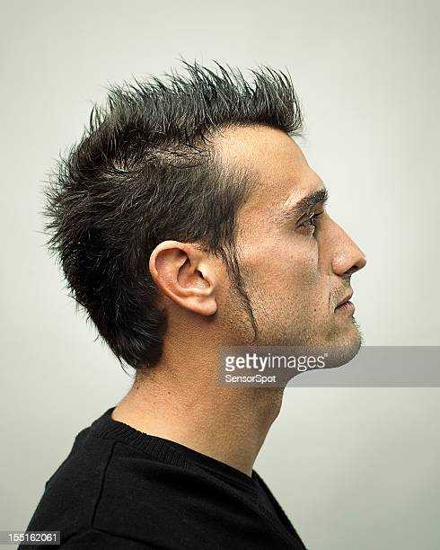 real man profile - sideburn stock photos and pictures