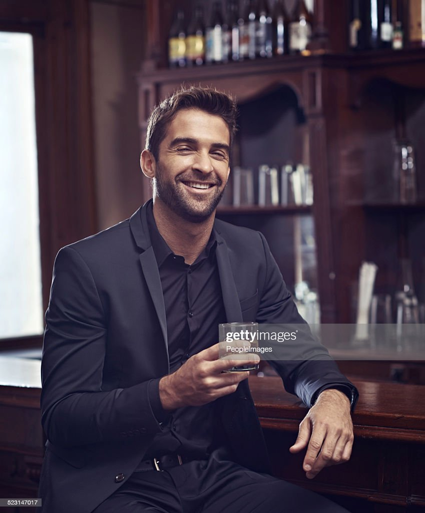 Real men drink whiskey : Stock Photo
