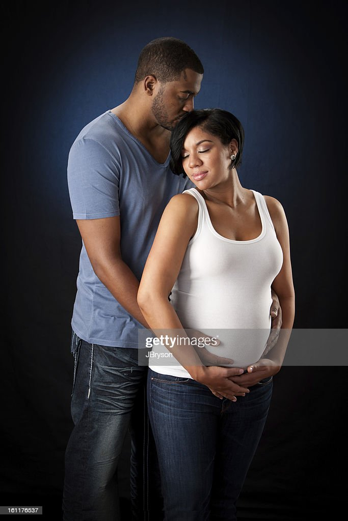 Real People Adult Couple Maternity African American Pregnant Stock Photo