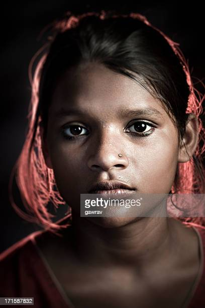 Real people from rural India: Girl looking at camera
