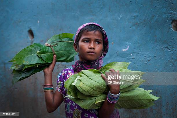 real people from rural india:  girl with leaves - rural scene stock pictures, royalty-free photos & images