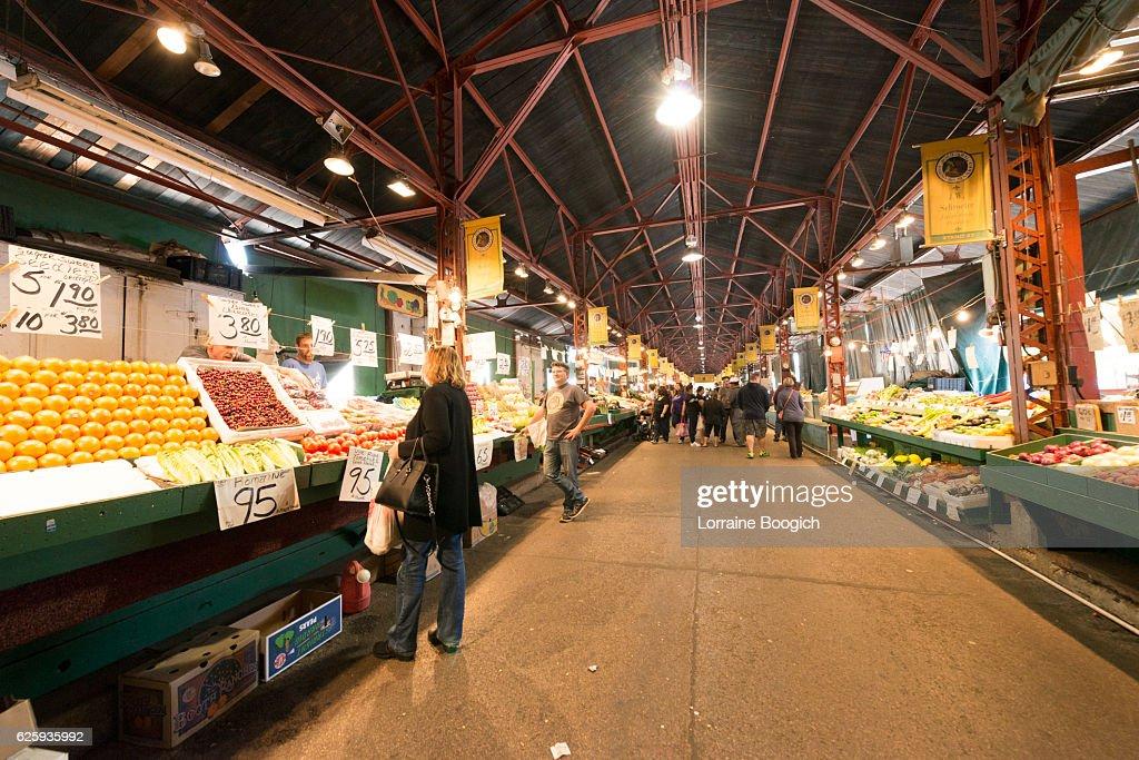Real People Shopping at St Louis Soulard Farmers Market Missouri : Stock Photo